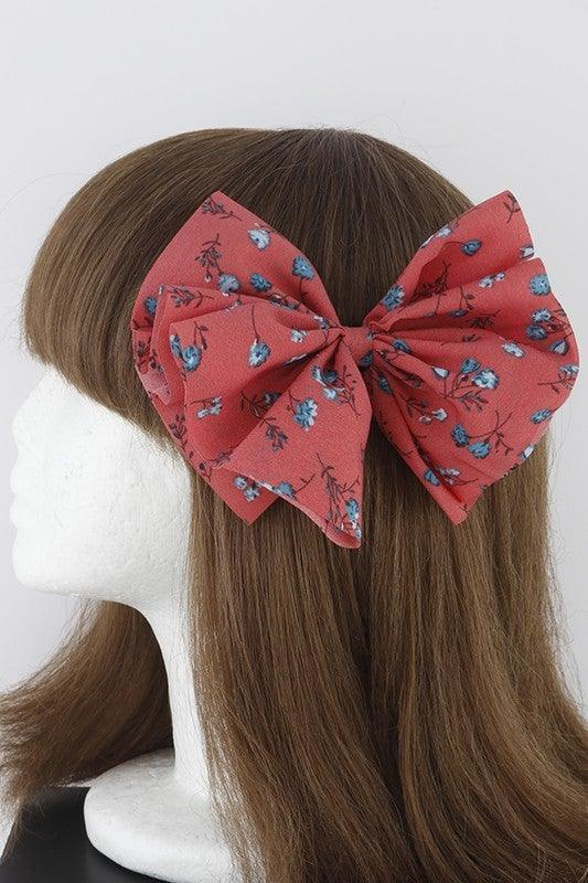 Coral Rose Ribbon Hair Clip