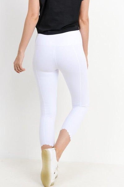 White Scalloped Laser Cut Leggings