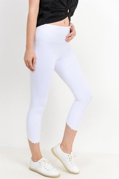 White Scalloped Laser Cut Leggings - No Fashion Deadlines