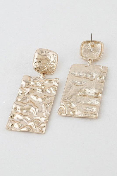 Gold Hammered Metal Drop Earrings - No Fashion Deadlines