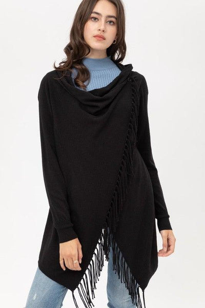 Black Fringe Wrap Cardigan - No Fashion Deadlines