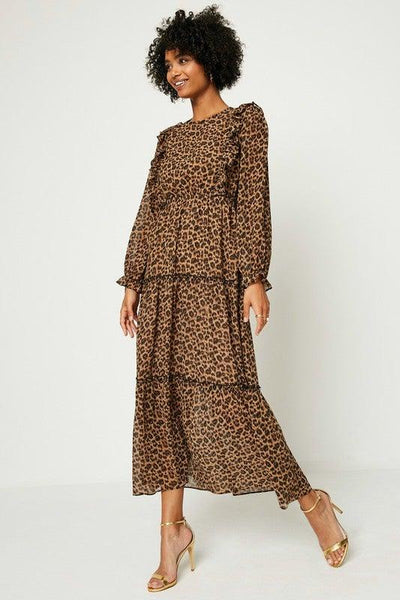 Leopard Ruffled Front Maxi Dress - No Fashion Deadlines