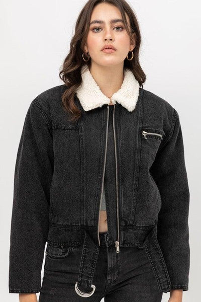 Black Sherpa Style Lined Denim Jacket - No Fashion Deadlines