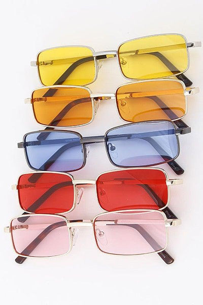Rectangle Color Lens Sunglasses - No Fashion Deadlines