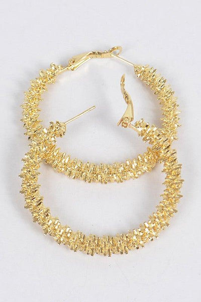 Gold Metal Glitter Hoop Earrings - No Fashion Deadlines