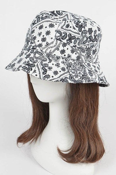 White Bandana Print Bucket Hat
