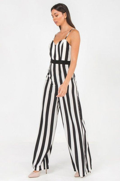 Black and White Striped Jumpsuit - No Fashion Deadlines