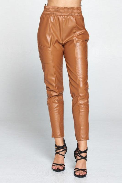 Camel Faux Leather Cigarette Pants
