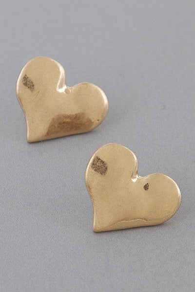 Gold Metal Heart Stud Earrings - No Fashion Deadlines