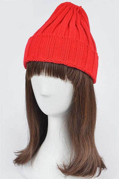 Red Knitted Beanie Hat - No Fashion Deadlines