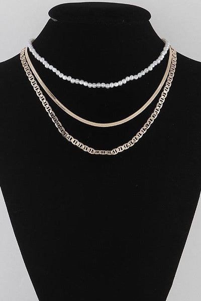 Gold Three Layered Pearl Necklace