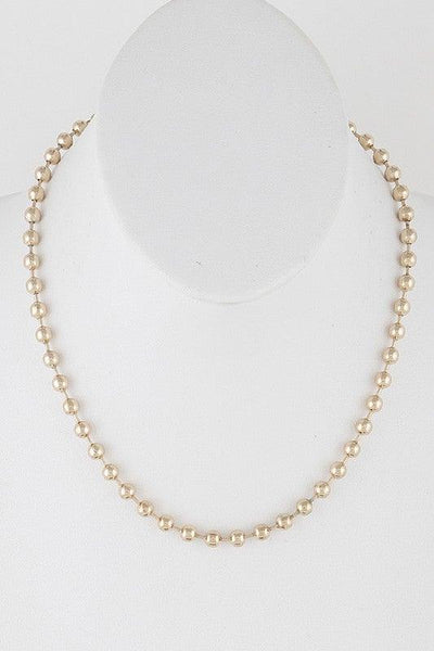 Gold Simple Metal Beads Necklace - No Fashion Deadlines