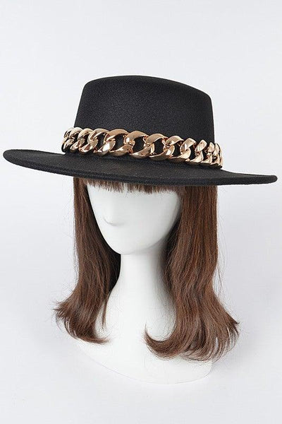 Black and Gold Faux Wool Hat with Chain - No Fashion Deadlines