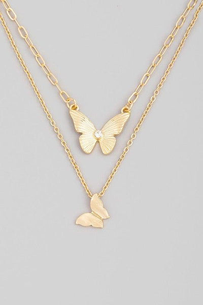 Gold Layered Butterfly Pendant Necklace