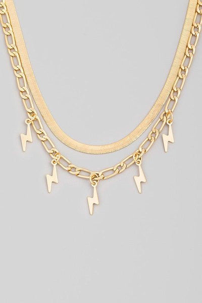 Gold Layered Lightning Charm Necklace