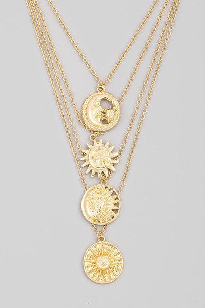 Gold Multi Layered Sun Moon Coin Pendant Necklace