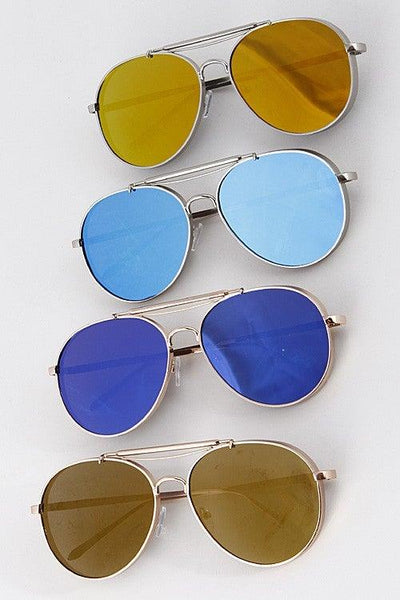 Reflective Trendy Aviator Sunglasses - No Fashion Deadlines