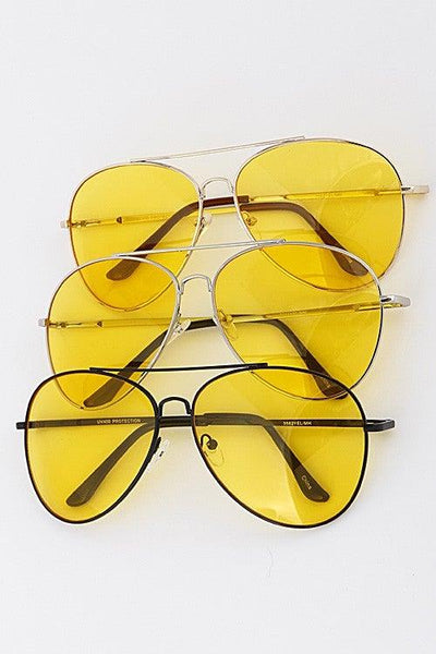 Yellow Aviator Tinted Sunglasses - No Fashion Deadlines