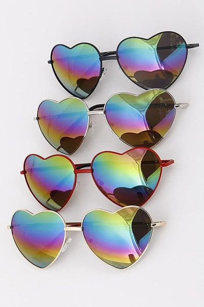 Mirrored Tinted Heart Sunglasses