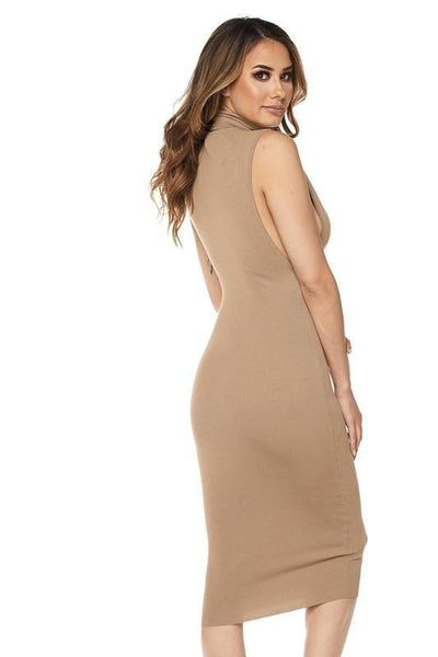 Taupe Low Side Turtleneck Dress - No Fashion Deadlines