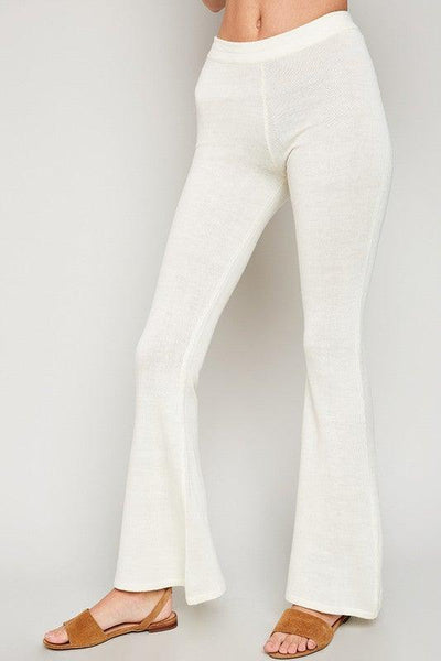 Cream Sweater Knit Bell Bottoms - No Fashion Deadlines