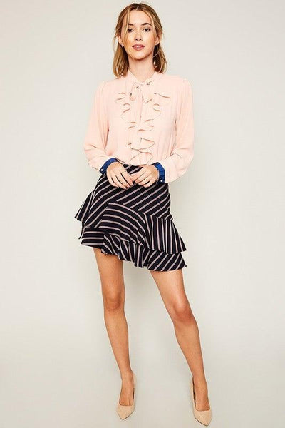 Navy Stripe Asymmetrical Ruffle Skirt - No Fashion Deadlines