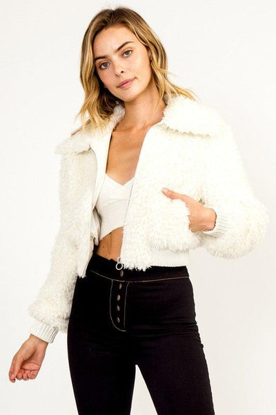 Ivory Faux Fur Bomber Jacket - No Fashion Deadlines