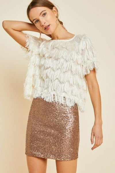 Bronze Sequin Mini Skirt - No Fashion Deadlines