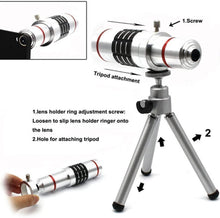 Load image into Gallery viewer, 18x Optical Zoom Mobile Lens Kit Telescope Lens with Tripod, Back case/Cover compatible with Iphone12 Mini