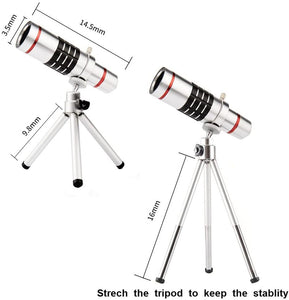 18x Optical Zoom Mobile Lens Kit Telescope Lens with Tripod, Back case/Cover compatible with Iphone12 Mini