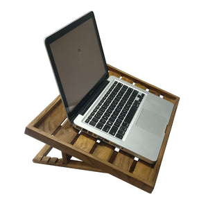 Smiledrive Laptop Riser Table Stand Teak Wood Macbook Holder Multi-Angle Foldable Universal Desk for laptops  - Made in India