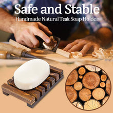 Load image into Gallery viewer, Smiledrive Soap Saver Holder Wooden Dish for Bathroom Kitchen Sink Teak Wood - Brown