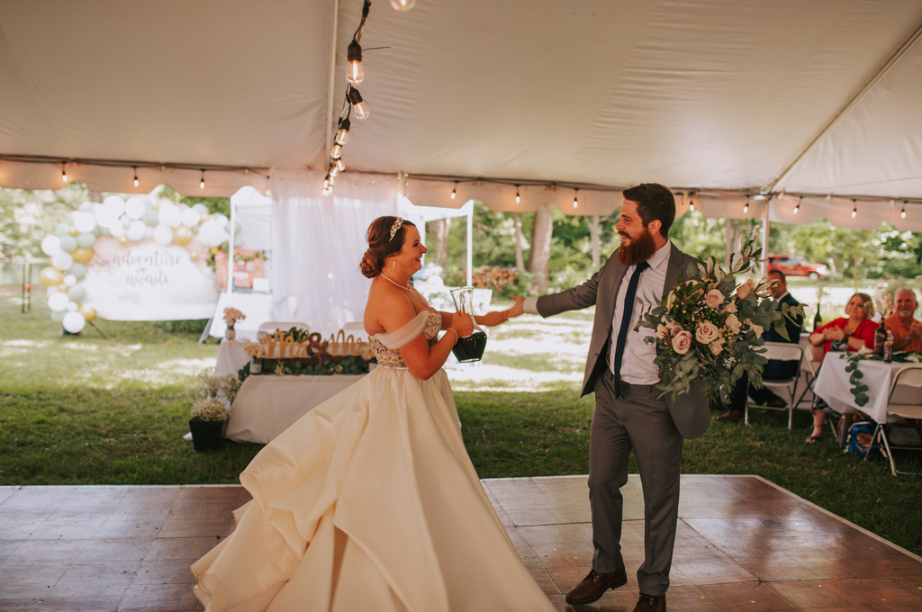 Bride and groom dancing at their wedding reception