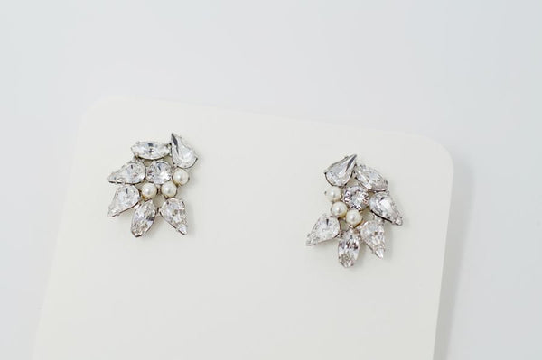 Silver Stud Earrings with Crystals and Pearls