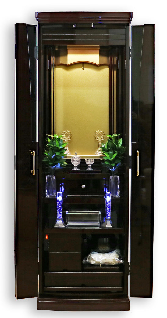Premium 5123 Ebony Automatic Doors Butsudan with Pull Out and In Table