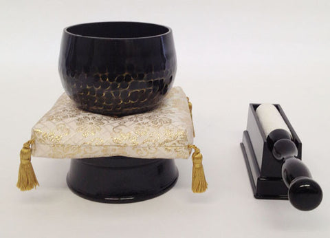 "No. 3 (3.6"" Diameter) Gold Cushion, Black Base and Stick Holder Set"