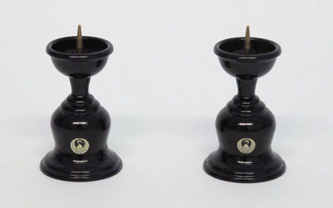 "3"" H Black Candle Stands Set with Crane Logo"