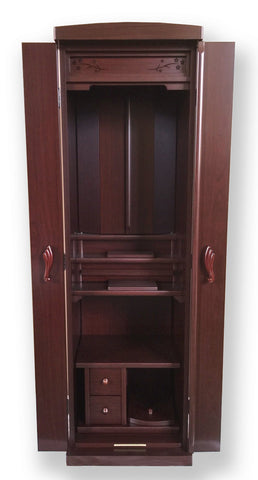 5322 Red Sandalwood Butsudan with Automatic Inner Doors and Slide Out Table