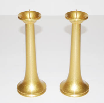 "8.5"" H Gold Tone Candle Stands Set"