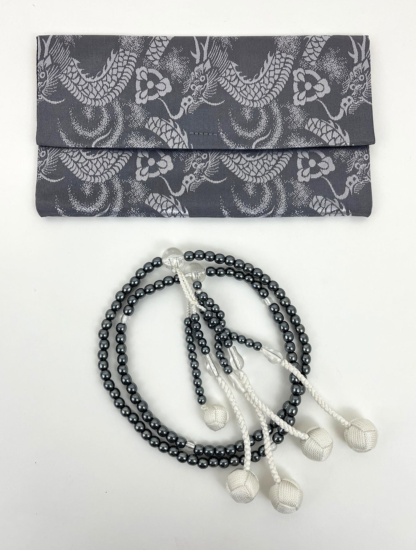 Black Pearl Beads with Knitted Tassels Beads Set - Large Beads (Large Beads Case)