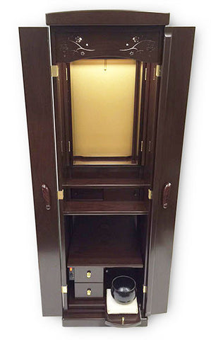 5322 Walnut Butsudan with Automatic Inner Doors and Slide Out Table