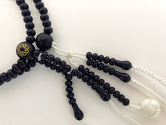 Navy Wooden Beads with S.G.I. Logo & Silk Tassels