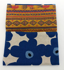 Blue Floral Pattern Kimono Fabric Beads Case (Small)