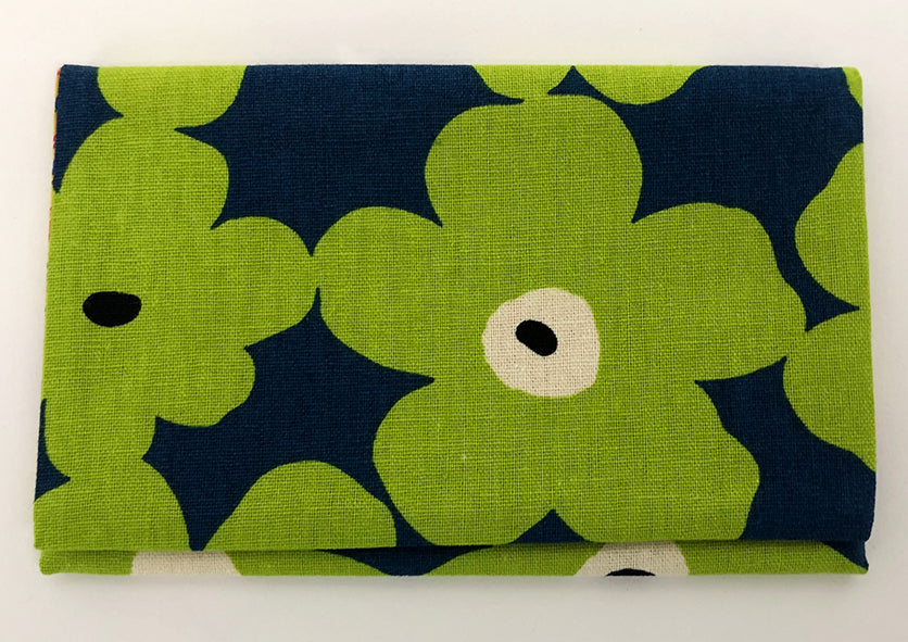 Neon Green Floral Pattern Kimono Fabric Beads Case (Small)
