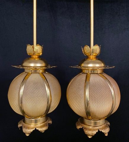 Used Medium Gold Hanging Lanterns