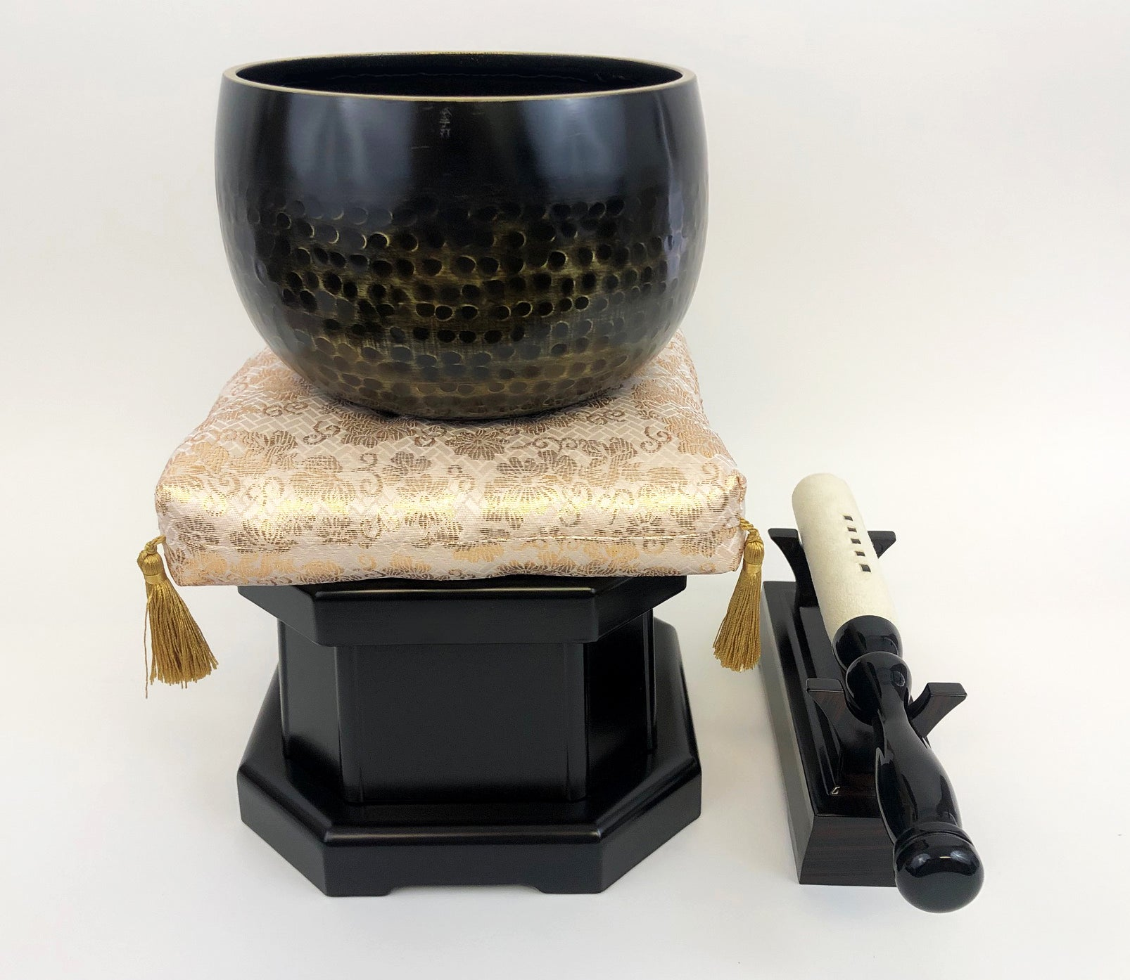 "No. 6 Bell (7.75"" Diameter) with Gold Floral Cushion and Ebony Base"