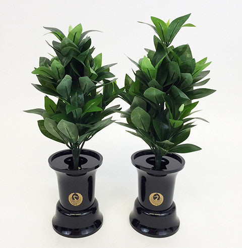 "5"" H Black Plastic Vases with Crane Logo"