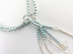Light Blue Pearl Beads with Knitted Tassels