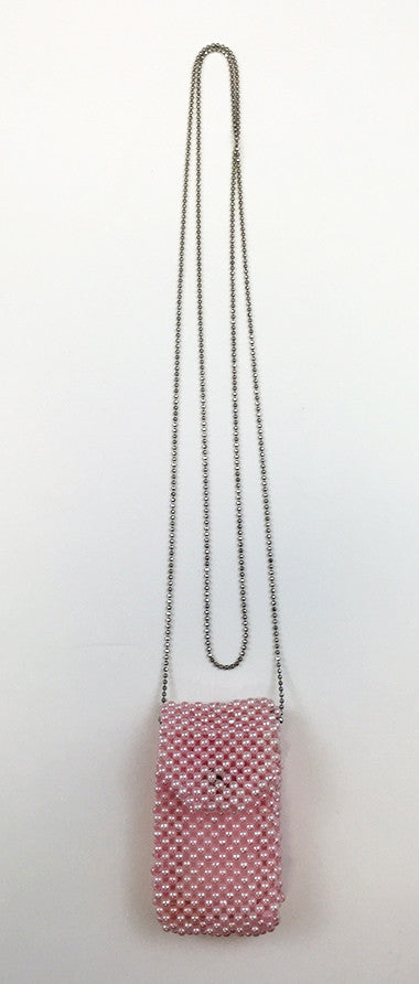 Pink Beaded Omamori Gohonzon Case with Chain #1