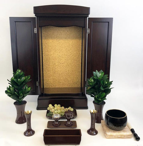 20 Walnut Butsudan with LED Light and Drawer with Butsugu and Bell Set